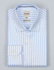 Blue Herringbone Stripe Business Shirt (Contemporary Fit)
