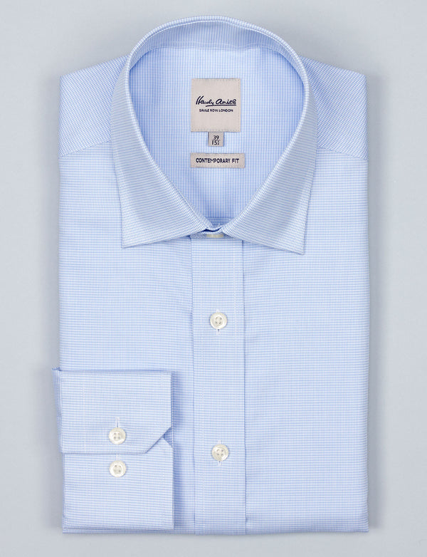 Blue Grid Business Shirt (Contemporary Fit)