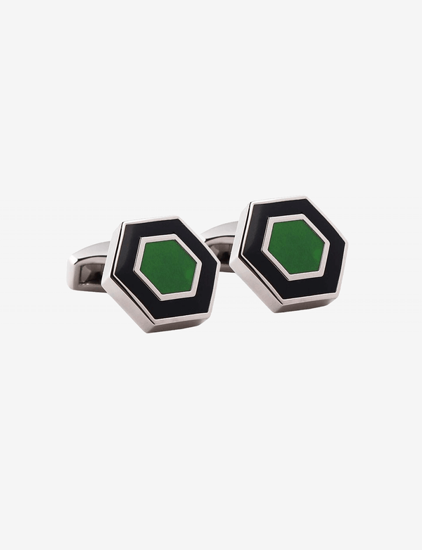 Black & Green Hexagon Cufflinks