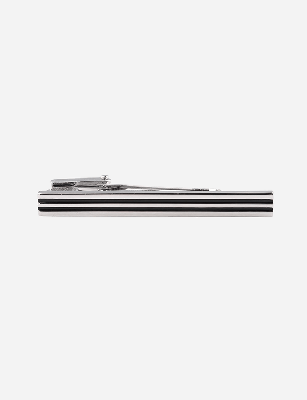 Black & Silver Striped Tie Bar