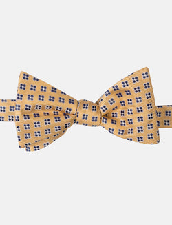 Gold Geometric Silk Bow Tie