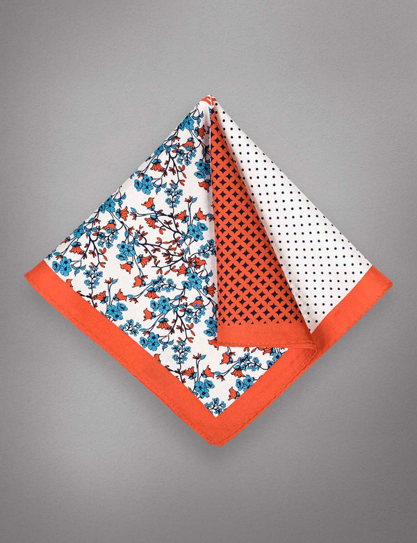 Orange Floral Silk Pocket Square