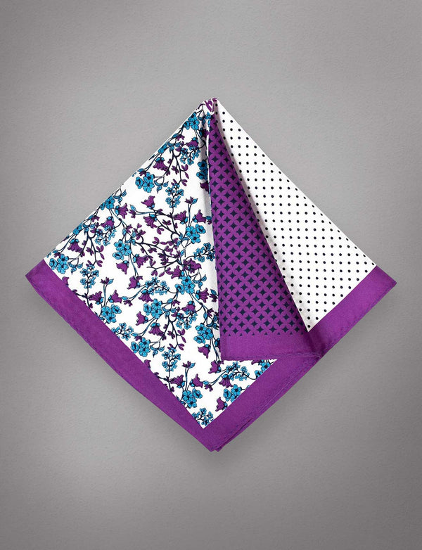 Purple Floral Silk Pocket Square