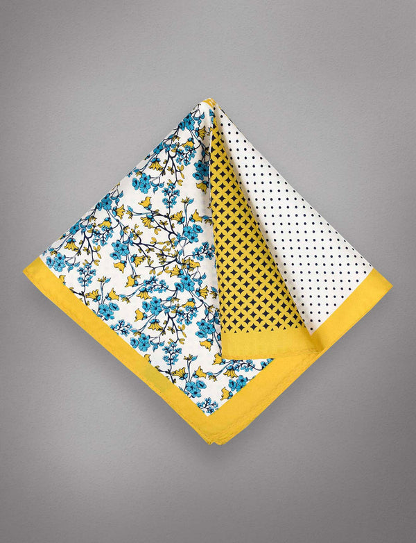 Gold Floral Silk Pocket Square