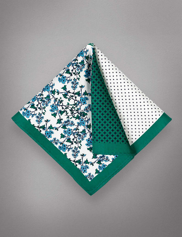 Green Floral Silk Pocket Square