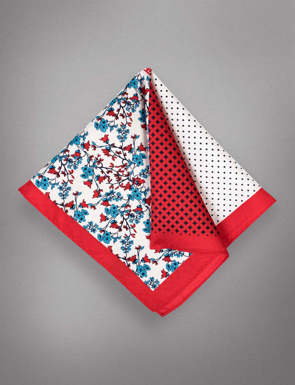 Red Floral Silk Pocket Square