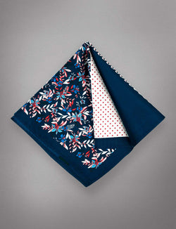 Navy & Red Floral Pocket Square