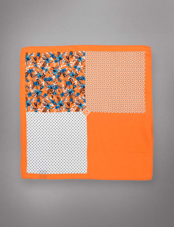 Orange & Blue Floral Pocket Square