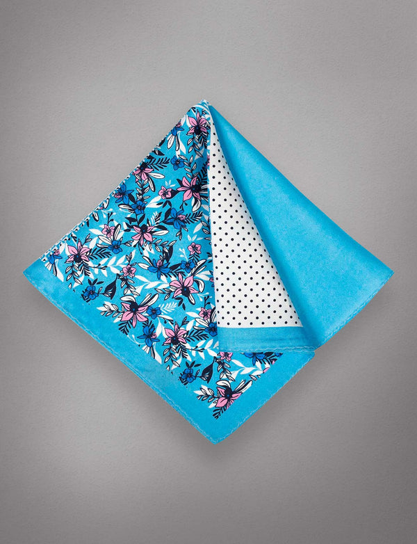Blue Dusk Floral Pocket Square
