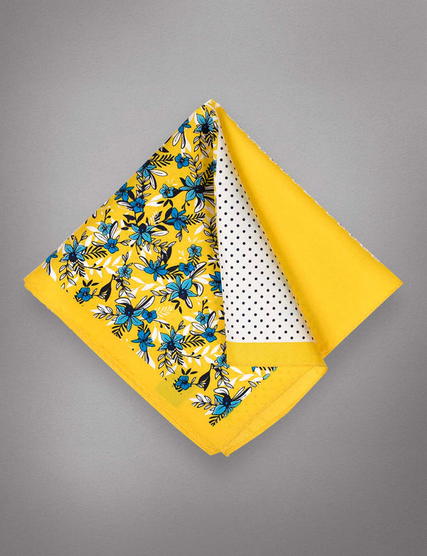 Gold & Blue Floral Pocket Square