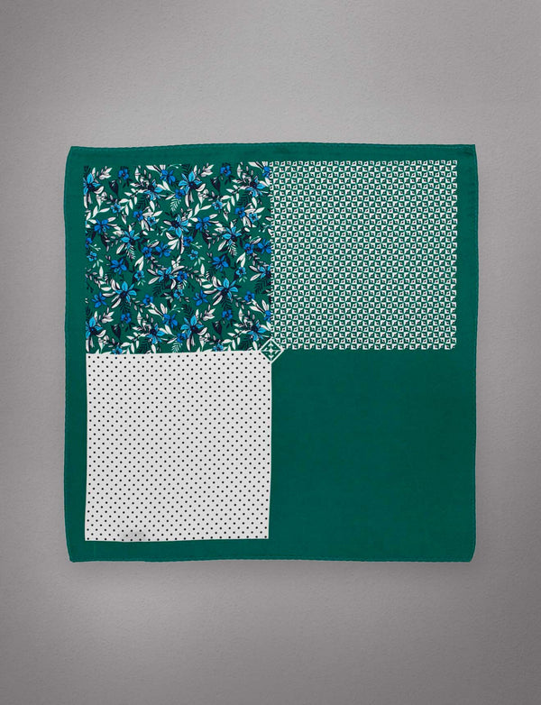 Emerald & Blue Floral Pocket Square