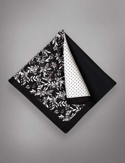 Black Night Floral Pocket Square