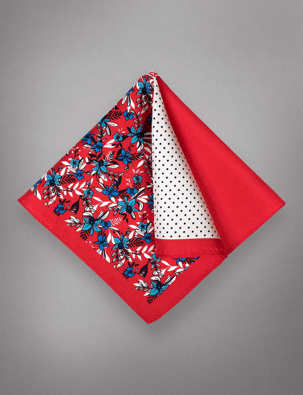 Red & Blue Floral Pocket Square