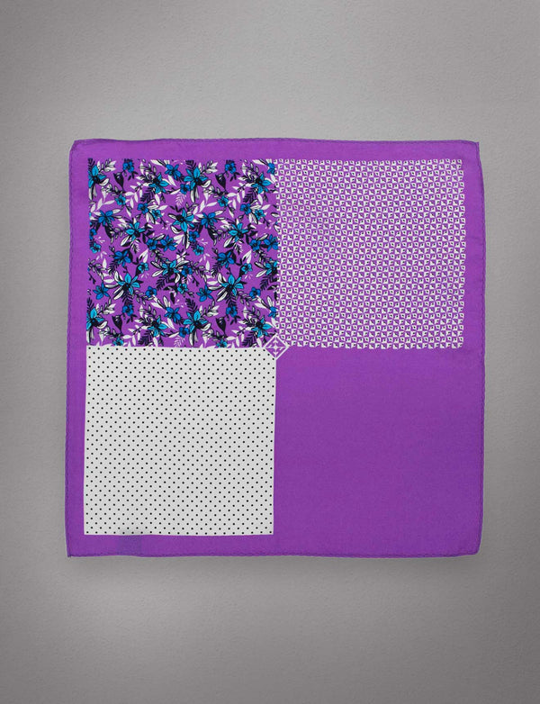 Purple & Blue Floral Pocket Square