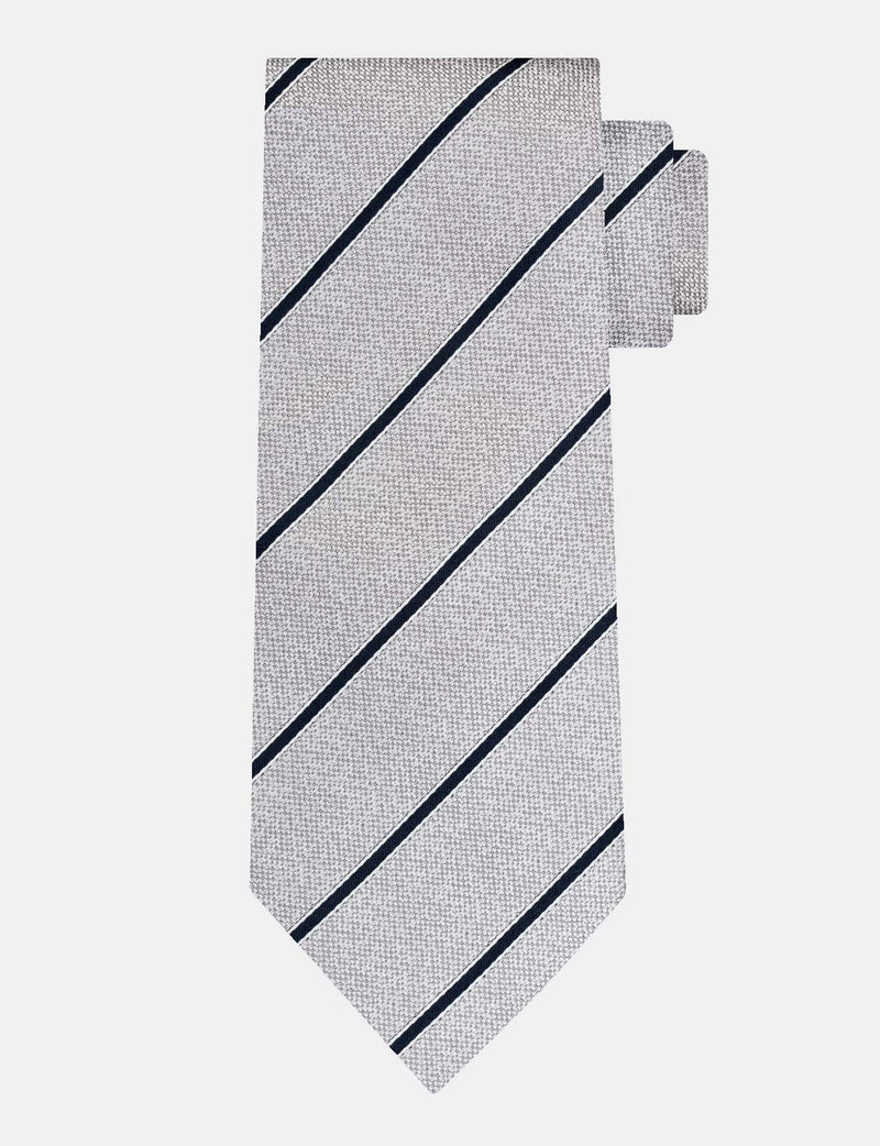 Grey Stripe Silk Tie
