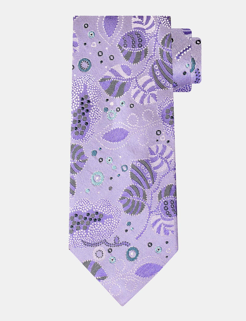 Lilac Graphic Floral Italian Silk Tie