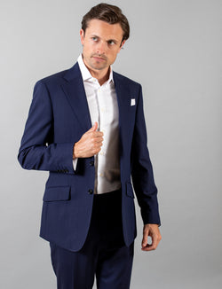 Navy Hopsack Suit Jacket