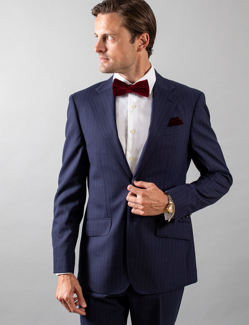 Navy Pinstripe Suit Jacket