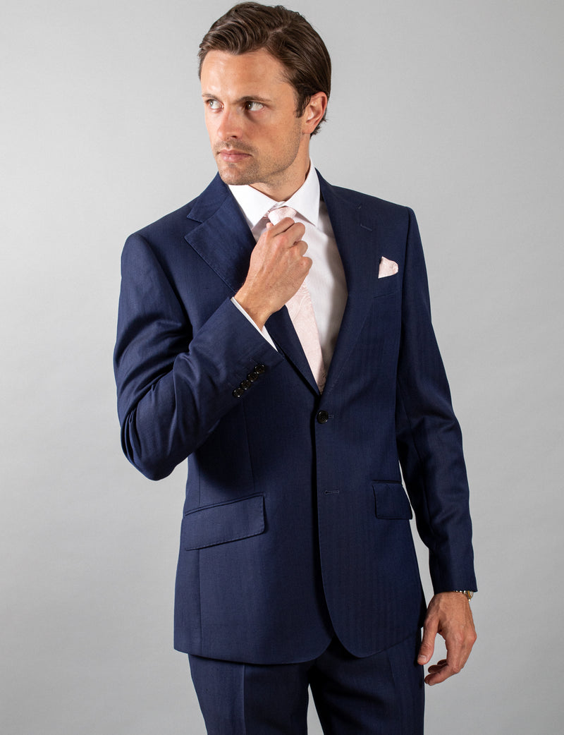 Navy Herringbone Suit Jacket
