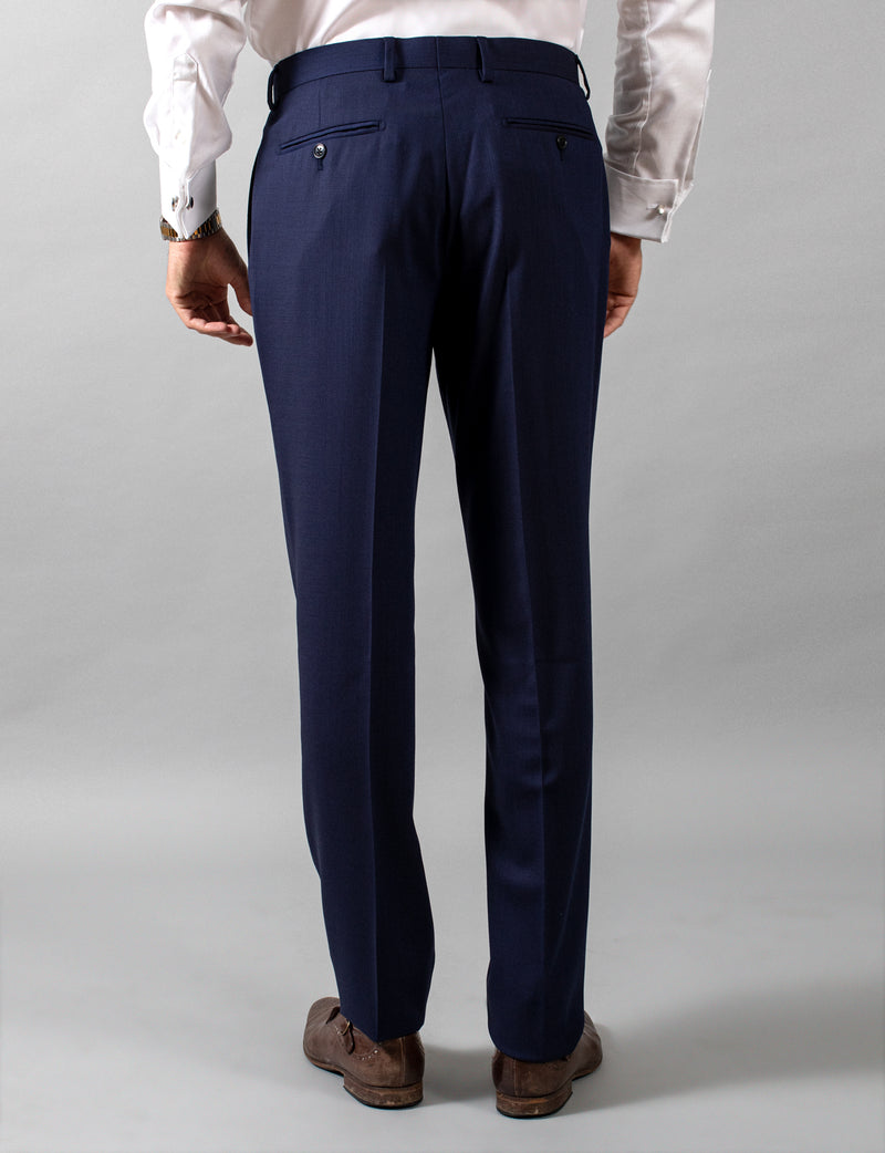 Navy Hopsack Suit Trousers