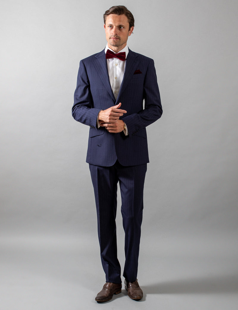 Navy Pinstripe Suit Trousers