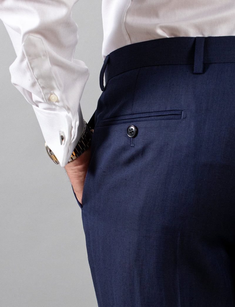 Navy Herringbone Suit Trousers