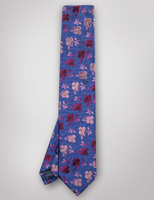 Soft Blue and Pink Floral Silk Tie