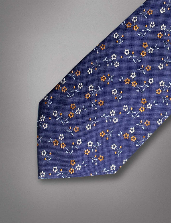 Royal Blue Floral Silk Tie
