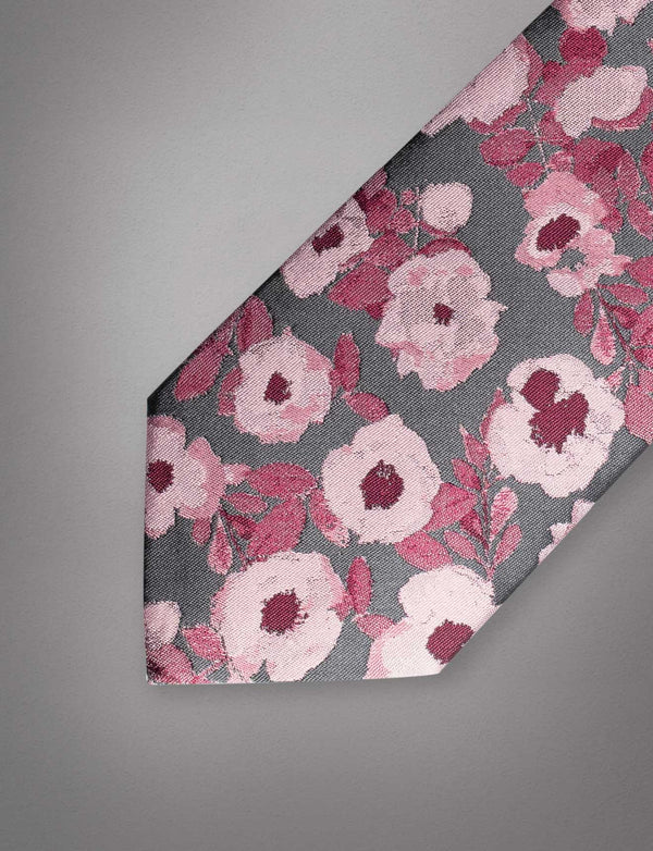 Abstract Pink Floral Silk Tie