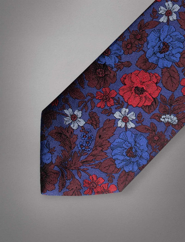 Blue and Red Floral Silk Tie