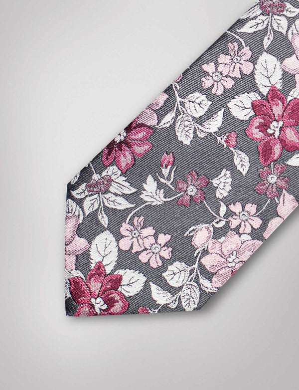 Light Grey Floral Silk Tie