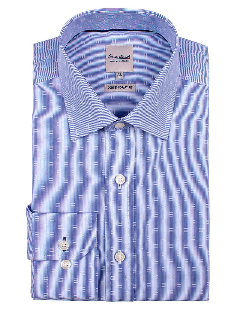 Blue Square Dobby Business Shirt (Contemporary Fit)