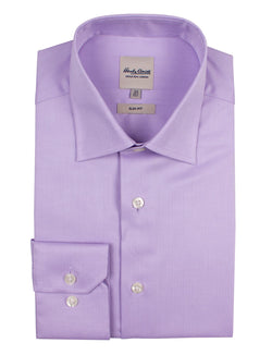 Lilac Mini Herringbone Business Shirt (Slim Fit)