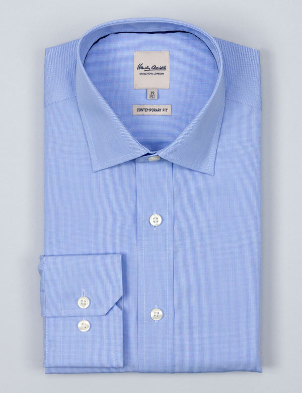 Blue Mirco Check Business Shirt (Contemporary Fit)