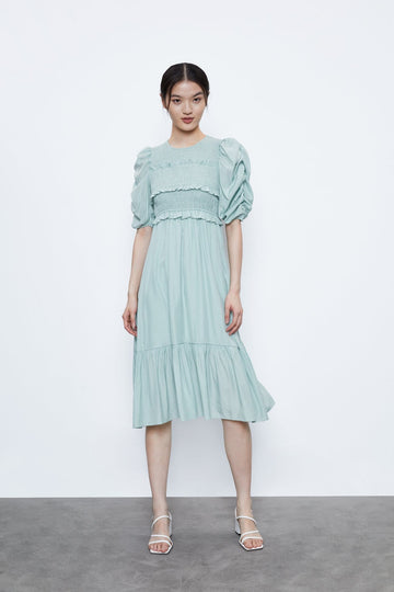 PLEATED DRESS WITH RUFFLES - Urban Revivo Fashion