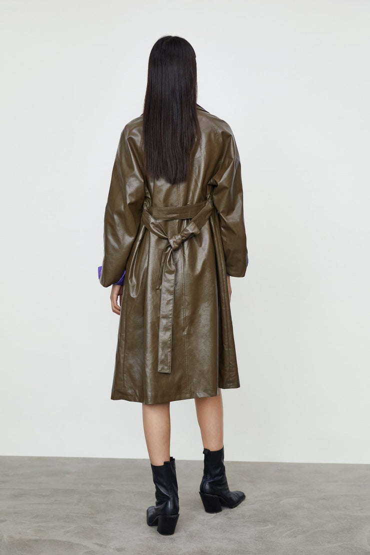 FAUX LEATHER FLOWING TRENCH COAT - Urban Revivo Fashion