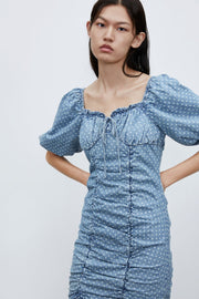 DENIM MINI DRESS WITH RUFFLES - Urban Revivo Fashion