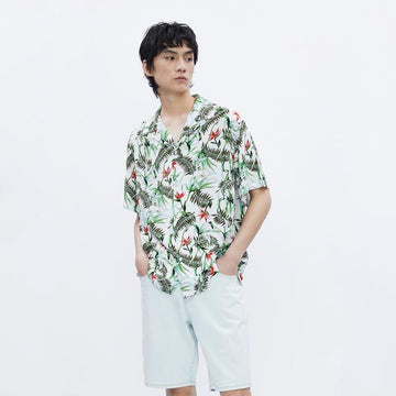 MEN'S PRINT PLANT SUMMER BEACH SHIRT - Urban Revivo Fashion