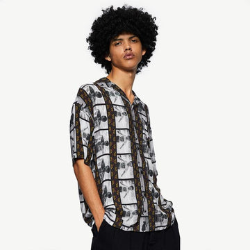 MEN'S FIGURE PRINT STRIPE SHIRT - Urban Revivo Fashion