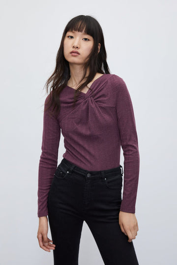 LONG SLEEVE KNOT NECK T-SHIRT - Urban Revivo Fashion