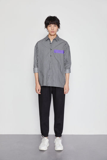 STRIPED LONG SLEEVE SHIRT - Urban Revivo Fashion