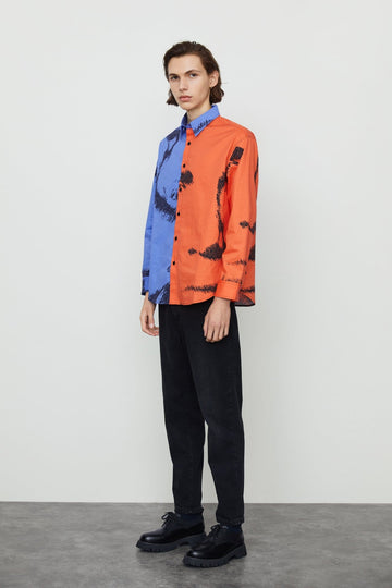 COLOR BLOCK LAPEL LONG SLEEVE SHIRT - Urban Revivo Fashion