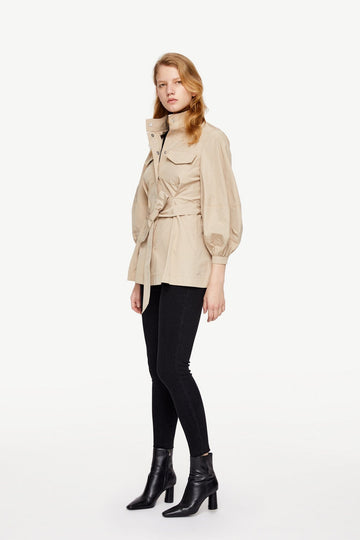CASUAL LAPEL COAT WITH BELT AND POCKETS - Urban Revivo Fashion