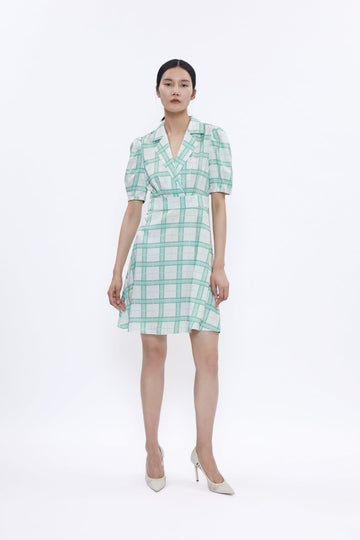 MINI TUX DRESS IN GREEN PLAID - Urban Revivo Fashion