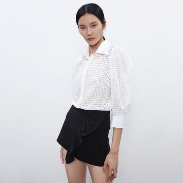 Leg Of Mutton Sleeve Women's Shirt - Urban Revivo Fashion
