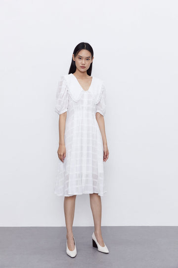 SWEET POPLIN COLLAR SUMMER MIDI DRESS - Urban Revivo Fashion
