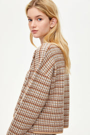 V-neck Knitted Top With Check - Urban Revivo Fashion