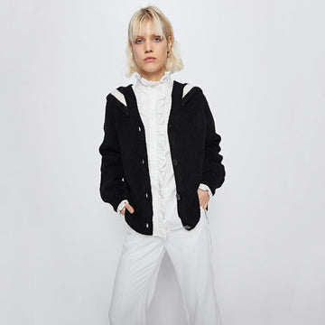 SAILOR COLLAR BUTTON UP CARDIGAN - Urban Revivo Fashion