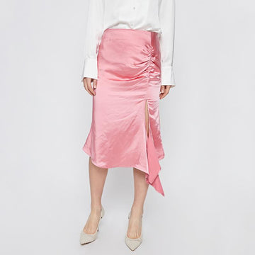 PLAIN RUCHED FRILL ASYMMETRICAL SKIRT - Urban Revivo Fashion