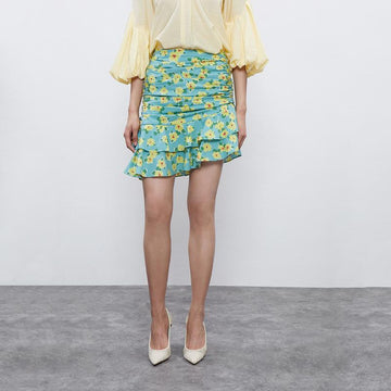 FLORAL RUCHED FRILL MERMAID SKIRT - Urban Revivo Fashion